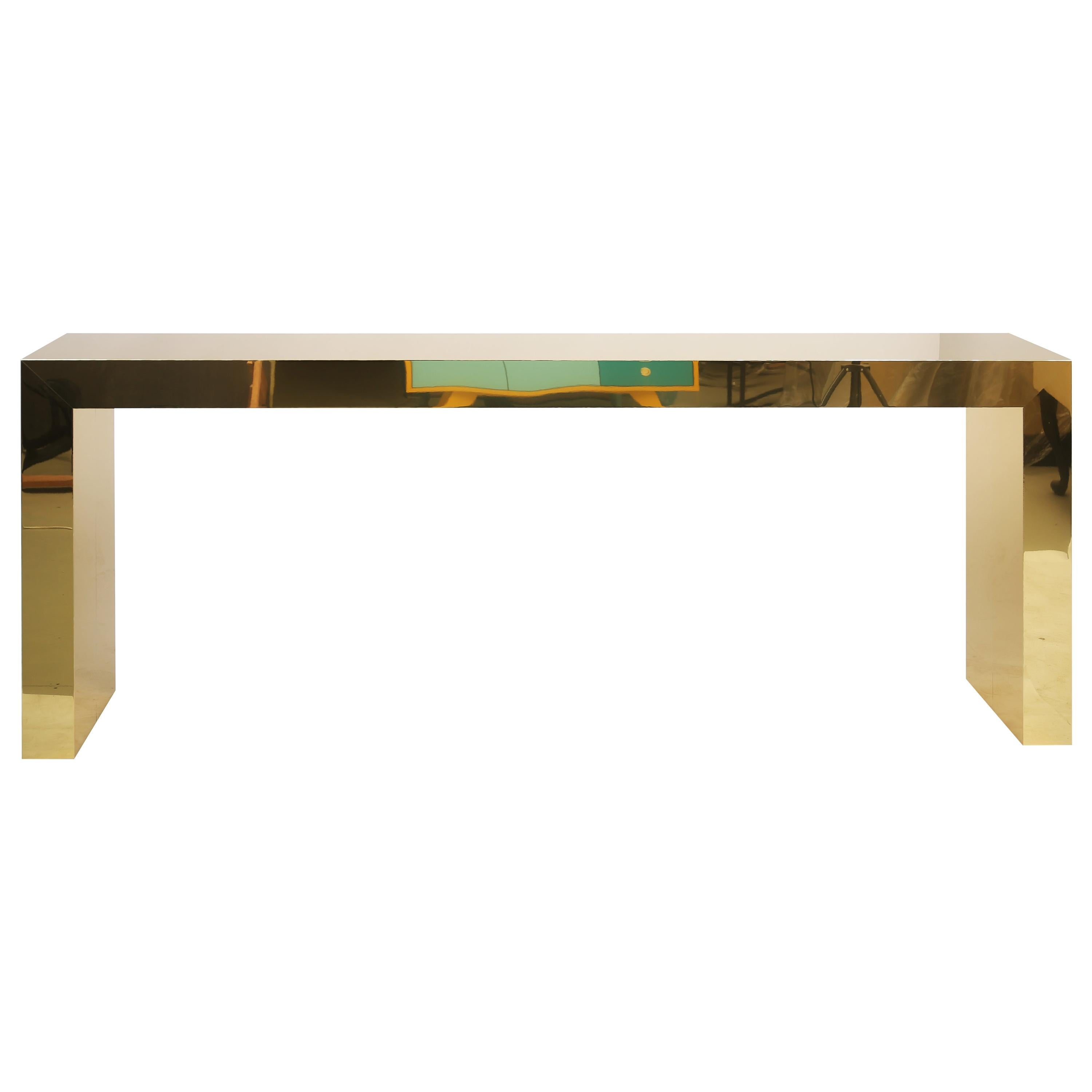 Contemporary Denwen Console Table in Solid Polished Brass