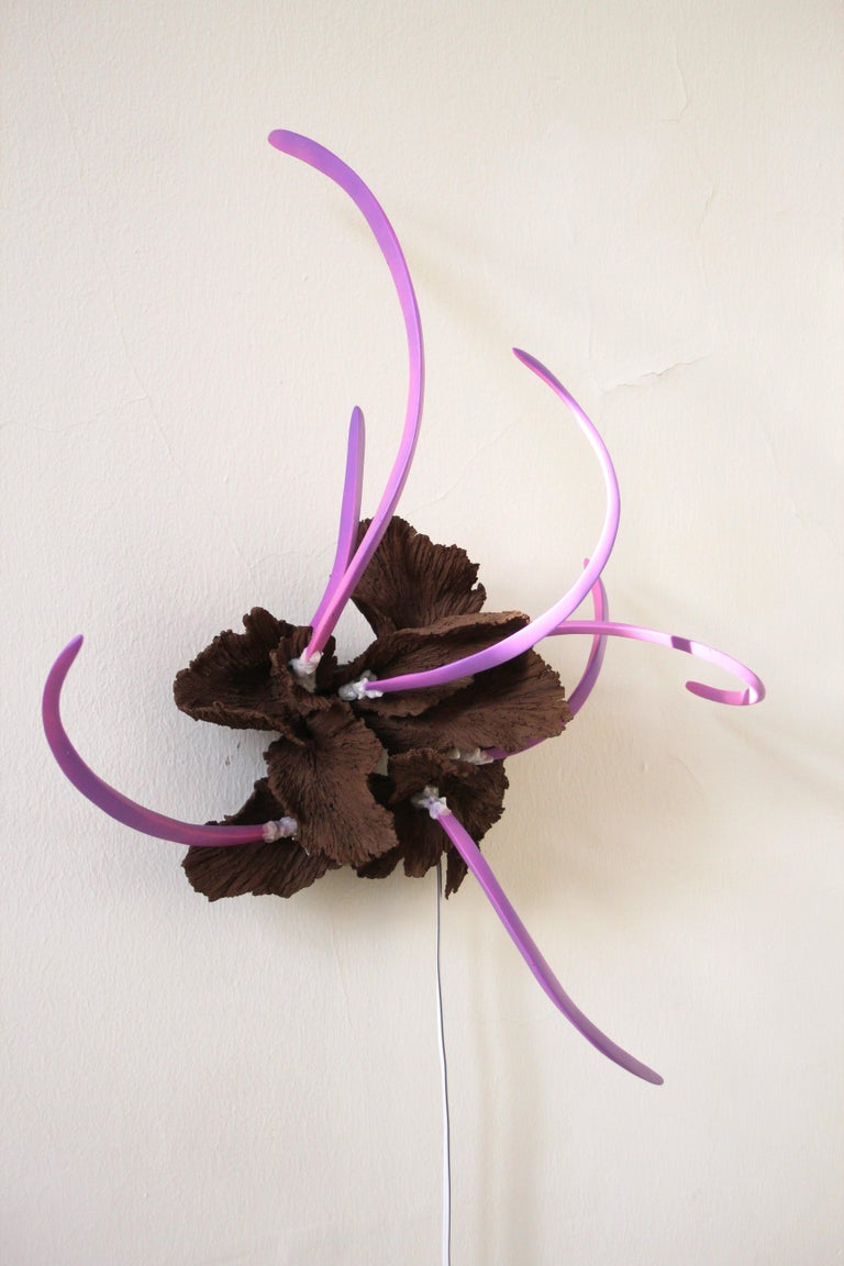 Frutti Di Mare 1 This contemporary design mood light creates organic shadows on dimmed rooms and on daylight it is a wall hanging sculpture. This objects is one-of-a-kind.  Brown frame is hand build of ceramic and purple rods are made of steel