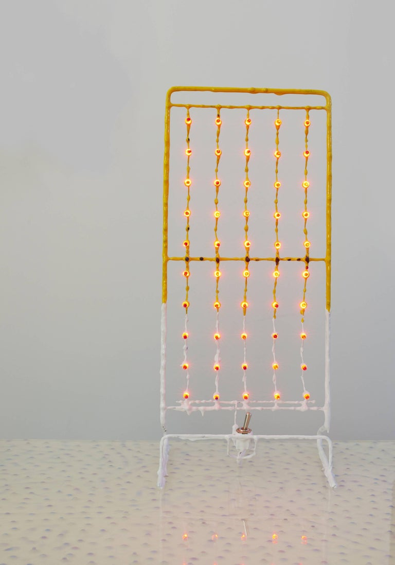 Nana yellow Standing table lamp in epoxy resin, pigment, red led David Lindberg, 2017 Commssioned by Camp Design Gallery  One of a kind Commissioned by Camp Design Gallery for Design Miami 2017, the Nana Yellow table light is part of the solo show