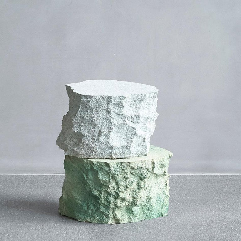One-off a kind - Contemporary Design, Meadow Block side tables embody the surface of stone and rocks. Made by the art and design duo Andredottir & Bobek  They have in this collection imitated landscape with artificial materials and created an