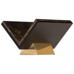 Contemporary Design Object or Book Stand in Marble, Brass and Oak