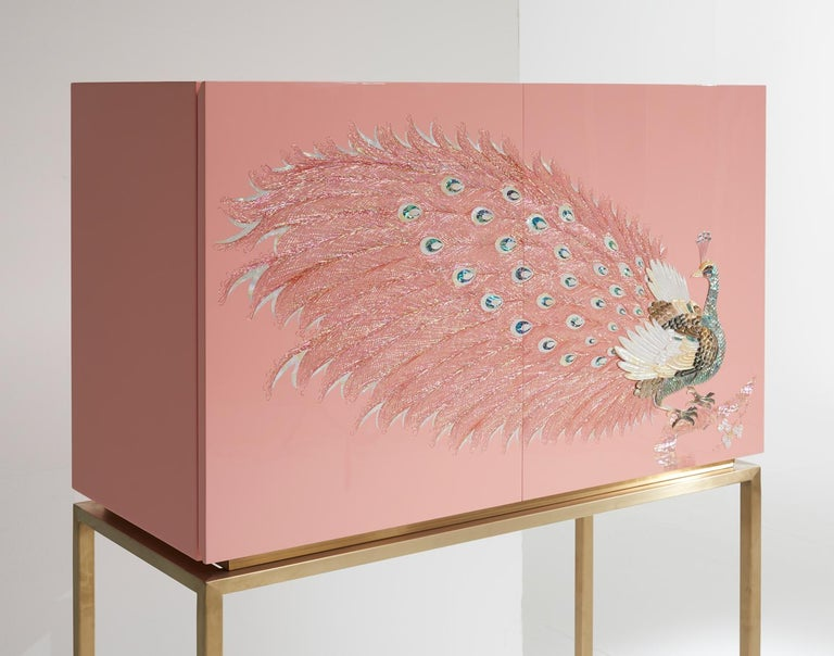 South Korean Contemporary Design Rose Pink Peacock Tall Cabinet with Gold Metal by Arijian For Sale