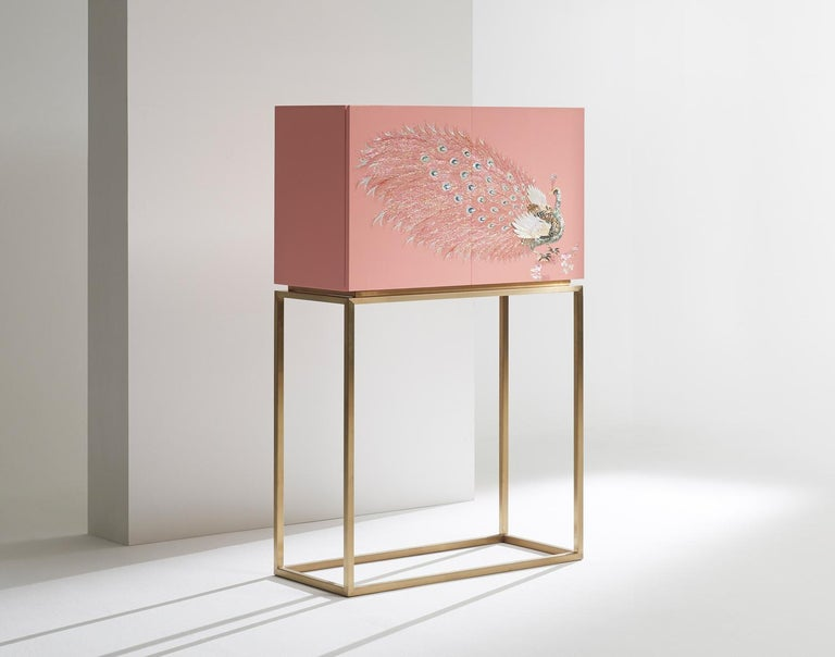 Modern Contemporary Design Rose Pink Peacock Tall Cabinet with Gold Metal by Arijian For Sale