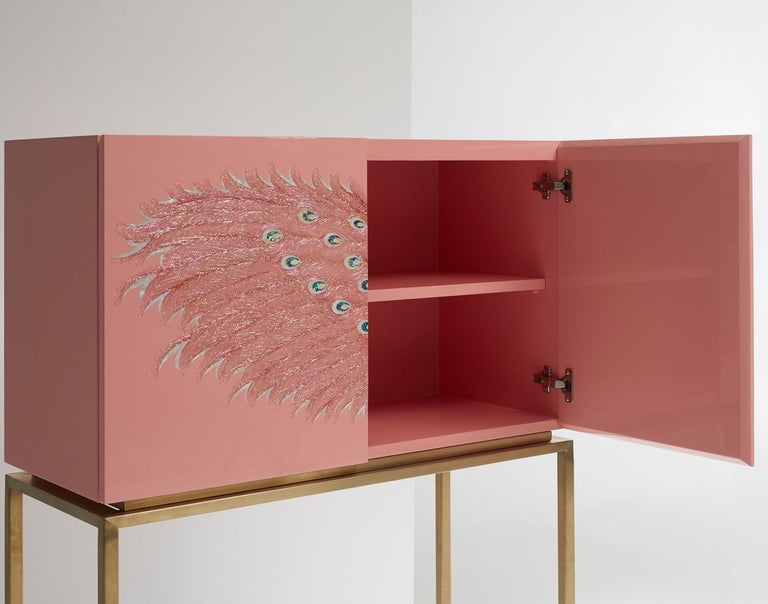 Contemporary Design Rose Pink Peacock Tall Cabinet with Gold Metal by Arijian In New Condition For Sale In Namyangju-si, KR