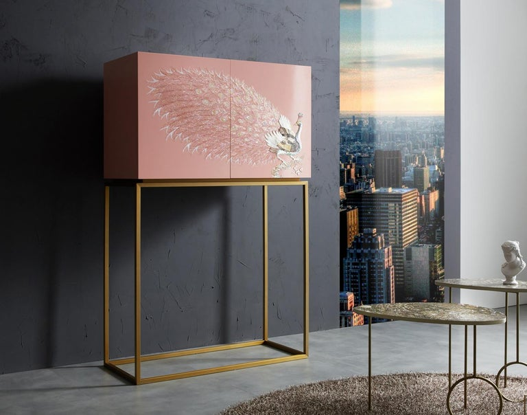 Mother-of-Pearl Contemporary Design Rose Pink Peacock Tall Cabinet with Gold Metal by Arijian For Sale