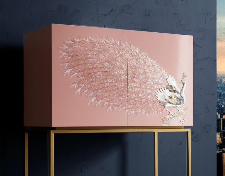 Contemporary Design Rose Pink Peacock Tall Cabinet with Gold Metal by Arijian For Sale 1