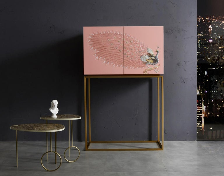 Contemporary Design Rose Pink Peacock Tall Cabinet with Gold Metal by Arijian For Sale 2