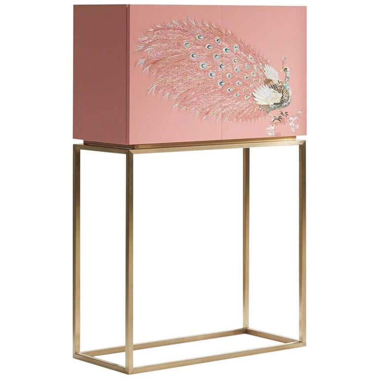 Contemporary Design Rose Pink Peacock Tall Cabinet with Gold Metal by Arijian For Sale
