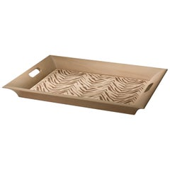 Contemporary Design Tray Pear Wood Zebra Carved Decoration by Giordano Viganò