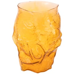 Contemporary Design Unique Glass 'Mountain' Vase by Fos, Butterscotch