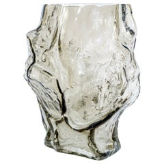 Contemporary Design Unique Glass 'Mountain' Vase by Fos, Olive