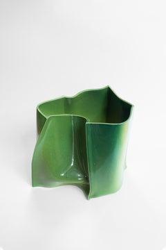 """Contemporary Design Unique Vase Ceramic """"BTM"""" by Philipp Schenk-Mischke, Green"""