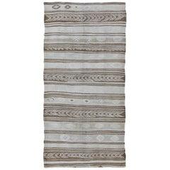 Contemporary Design Vintage Turkish Flat-Weave Kilim Rug with Camel Stripes