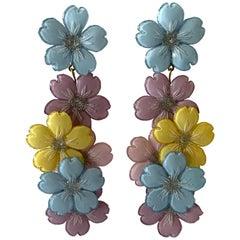 Contemporary Designer Pastel Multi Flower Statement Earrings