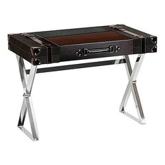Contemporary Desk in Leather, Wood & Metal in Shape of a Vintage Travel Suitcase