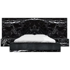 Contemporary Dettifoss Marble Edition Bed Frame, Black, Brass, Marble