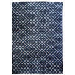 Contemporary Dhurrie Deep Blue and White Handmade Cotton Rug