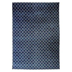 Contemporary Dhurrie Deep Blue and White Wool Rug