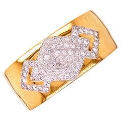 Contemporary Diamond 14 Karat Yellow Gold Wide Bangle Bracelet