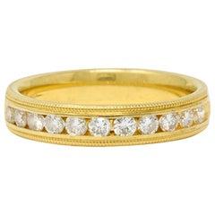 Contemporary Diamond 18 Karat Yellow Gold Anniversary Band Stacking Ring