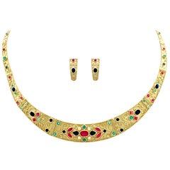 Contemporary Diamond 2.59Ct Sapphire 2.88Ct Ruby Emerald Gold Jewellery Suite