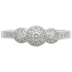 Contemporary Diamond and 14 Karat White Gold Dress Ring