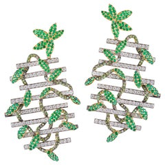 Rosior Diamond, Emerald and White and Yellow Gold Contemporary Dangle Earrings
