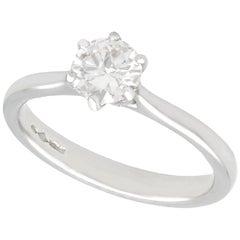 Contemporary Diamond and Platinum Solitaire Ring