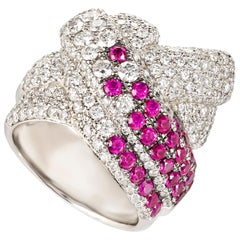Contemporary Diamond and Ruby Cocktail Ring setted in Platinum