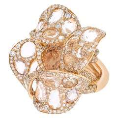 """Contemporary Diamond and Sapphire """"Flower"""" Ring in Rose Gold"""