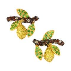 "Contemporary Diamond and Tsavorite ""Lemon Tree"" Stud Earrings"