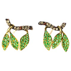 Contemporary Diamond and Tsavorite Stud Earrings in Yellow Gold