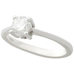 Contemporary Diamond and White Gold Solitaire Ring