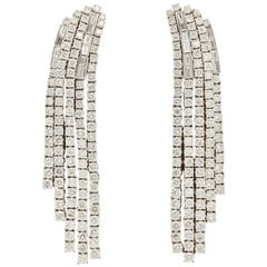 Contemporary Diamond Dangle Chandelier Earrings
