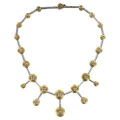 Contemporary Diamond Drop 18 Karat Two Tone Hammered Gold Choker Necklace
