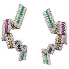 "Contemporary Diamond, Emerald and Sapphire ""Ribbon"" Earrings in White Gold"
