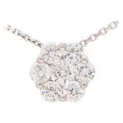Contemporary Diamond Floral Cluster Necklace Set in 18k White Gold