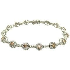 Contemporary Diamond Halo Link Bracelet