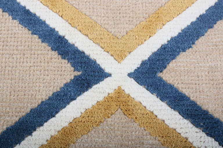 Modern Contemporary Diamond Pattern Rug Beige Gold and Blue by Rug & Kilim