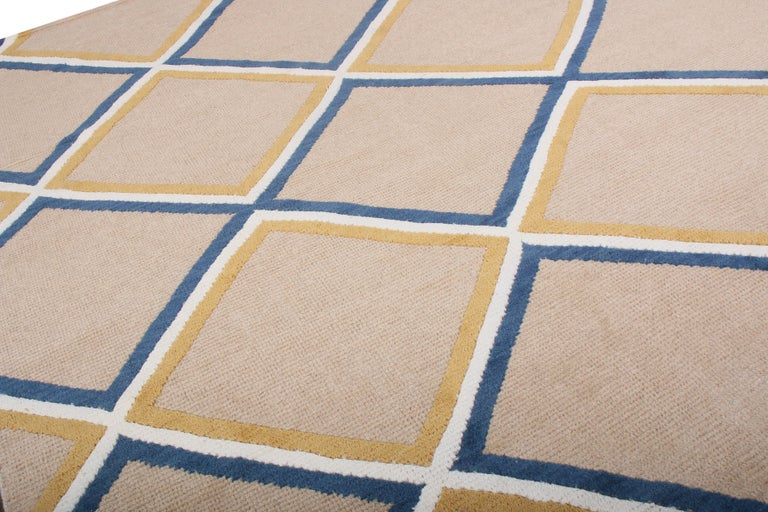 Indian Contemporary Diamond Pattern Rug Beige Gold and Blue by Rug & Kilim
