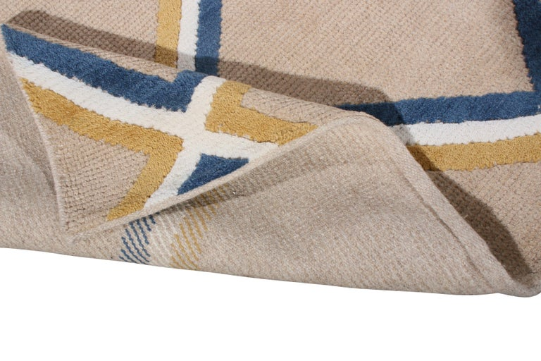 Hand-Knotted Contemporary Diamond Pattern Rug Beige Gold and Blue by Rug & Kilim