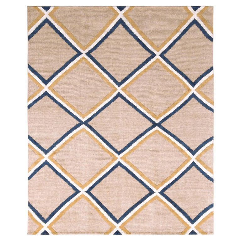 Contemporary Diamond Pattern Rug Beige Gold and Blue by Rug & Kilim