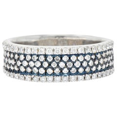Contemporary Diamond Platinum and 18 Karat White Gold Men's Ring Blue Rhodium