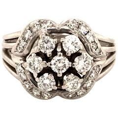 Contemporary Diamond Ring in 18 Karat White Gold