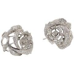 """Contemporary Diamond """"Rosebud"""" Earrings in 19.2 Karat White Gold"""