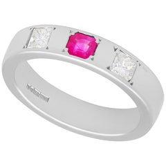Contemporary Diamond Ruby White Gold Cocktail Ring