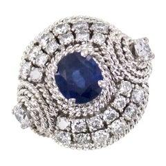 Diamond Natural Blue Sapphire 14 Karat White Gold Cocktail Ring