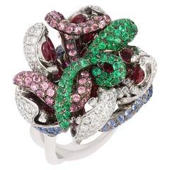 Contemporary Diamond, Sapphire, Tourmaline and Emerald Ring in White Gold