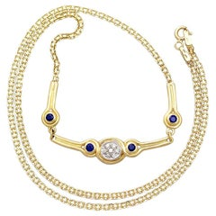 Contemporary Diamond Sapphire Yellow Gold Necklace