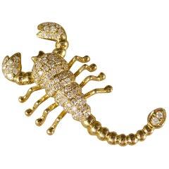 Contemporary Diamond Set Scorpion Pendant Brooch in 18 Carat Yellow Gold